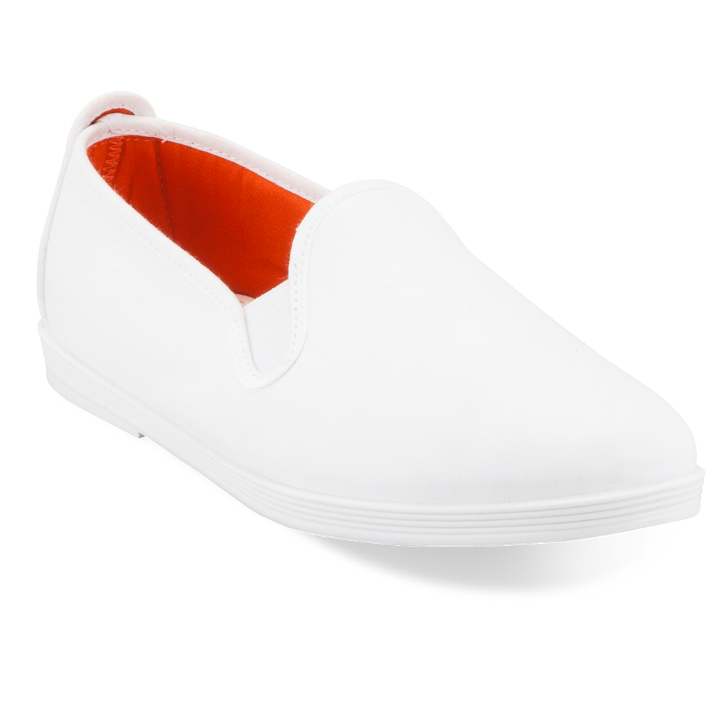 Womens White Madrid Slip on Plimsoll
