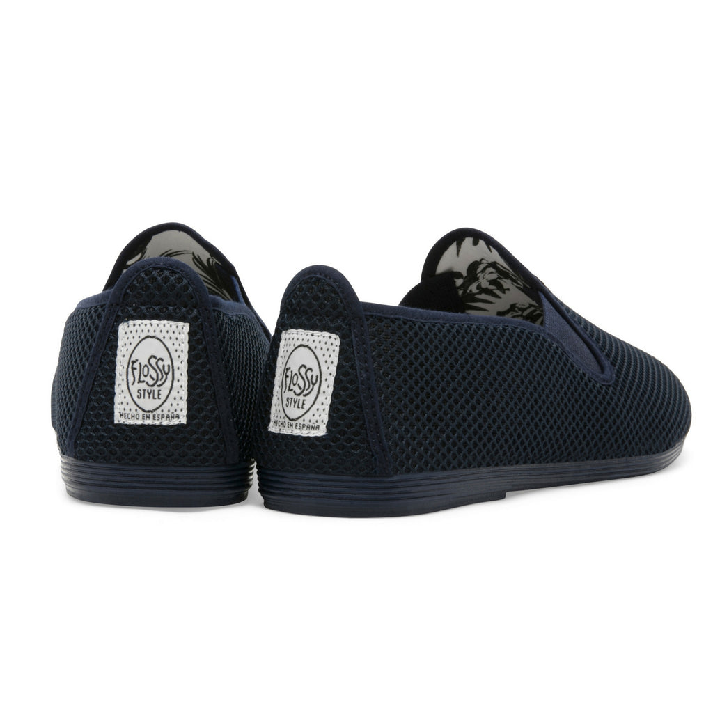 Mens Navy Buque Mesh Slip on Plimsoll