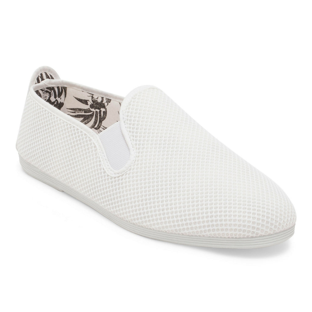 Mens White Buque Mesh Slip on Plimsoll