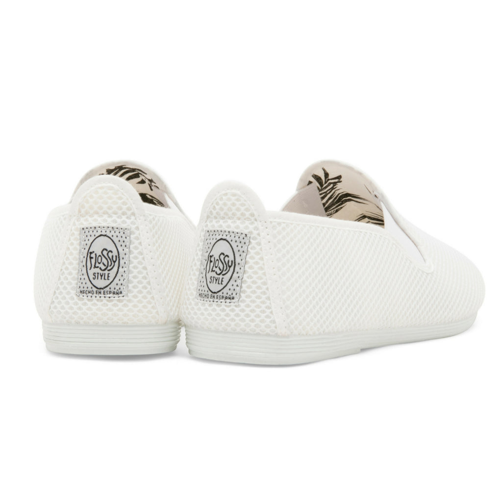 5f8488355ee5 Mens White Buque Mesh Slip on Plimsoll – Flossy Shoes