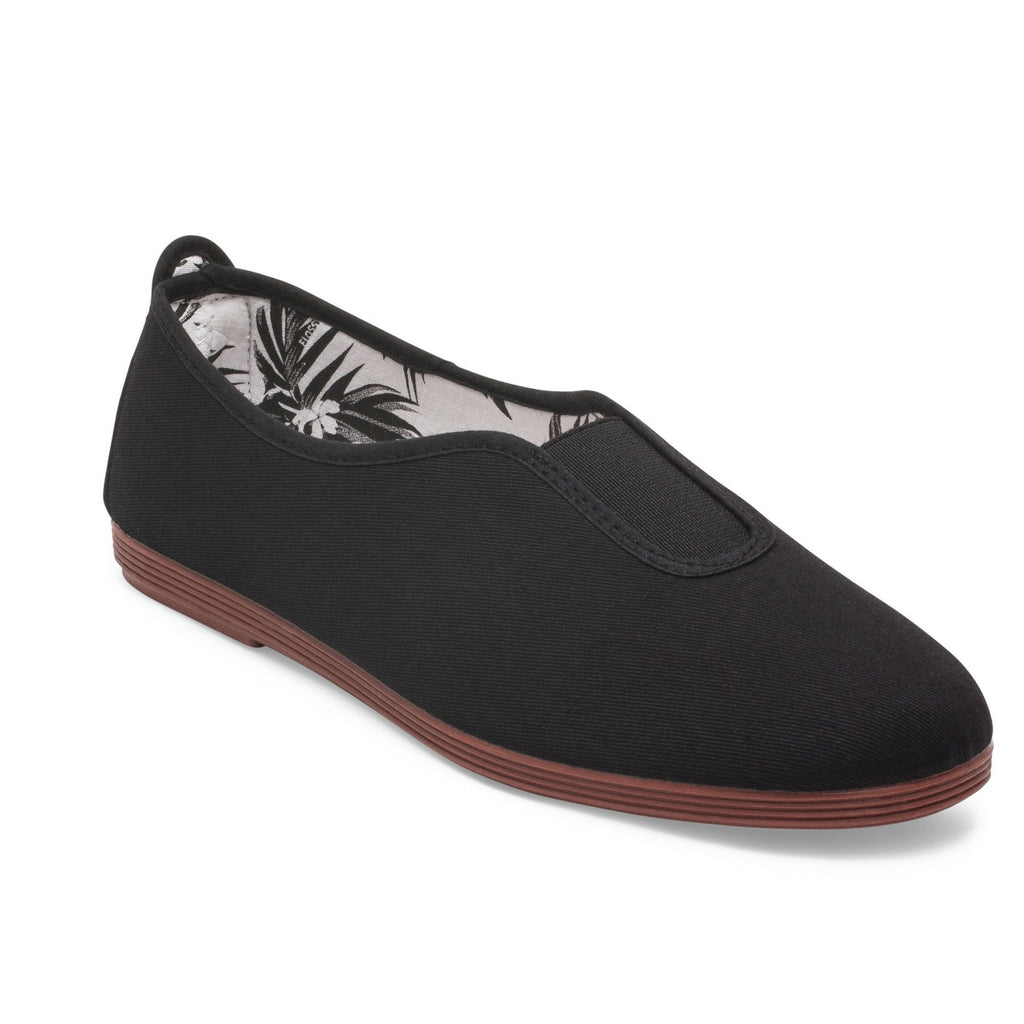 Womens Black Califa Slip on Plimsoll