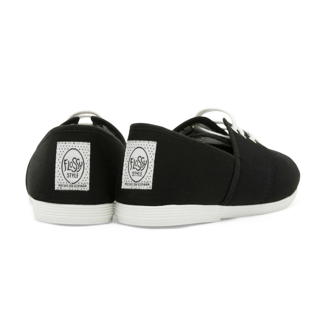 Womens Black Costa Lace up Plimsoll