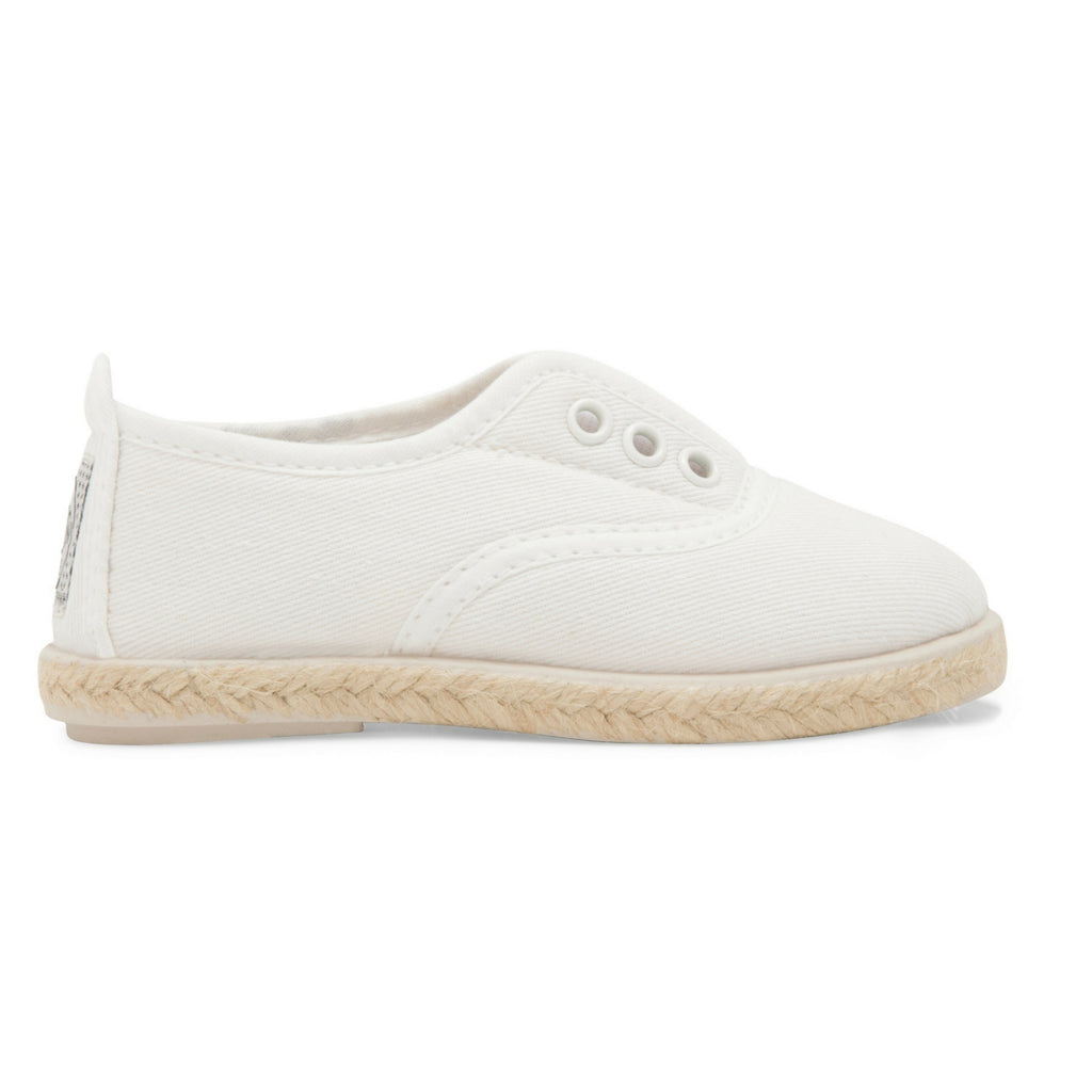 Kids White Goloso Slip on Espadrille Plimsoll