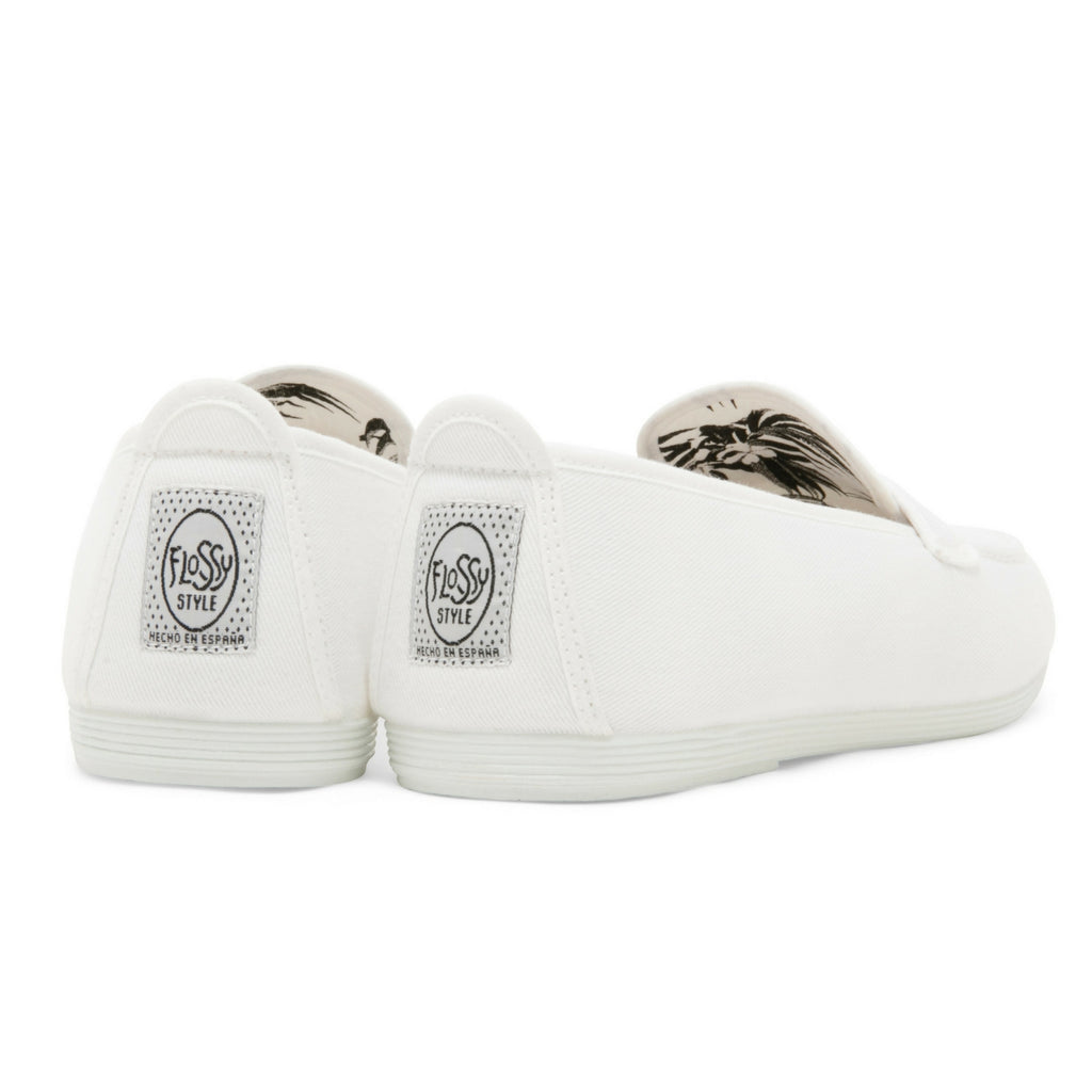 Mens White Hobby Slip on Loafer Plimsoll