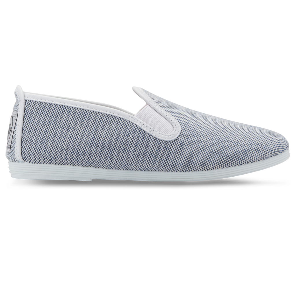 Mens Blue and White Marbella Slip On Plimsoll