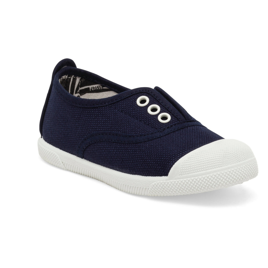 Kids Navy Trapillo Slip on Plimsoll
