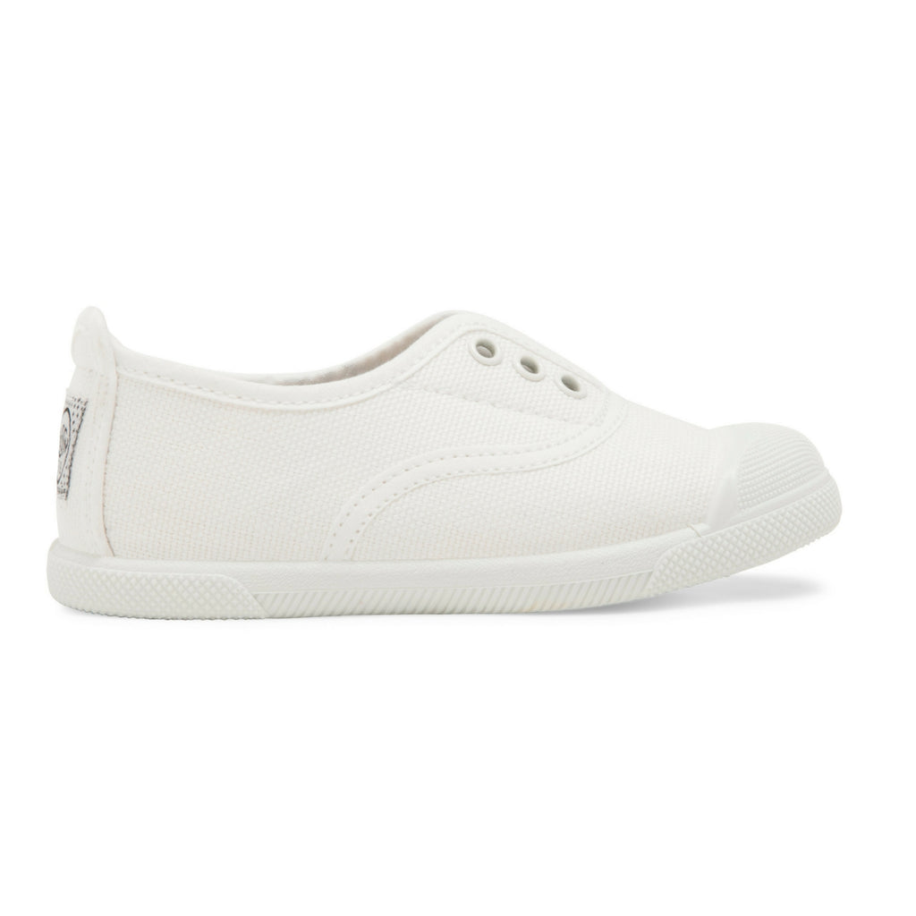 Kids White Trapillo Slip on Plimsoll