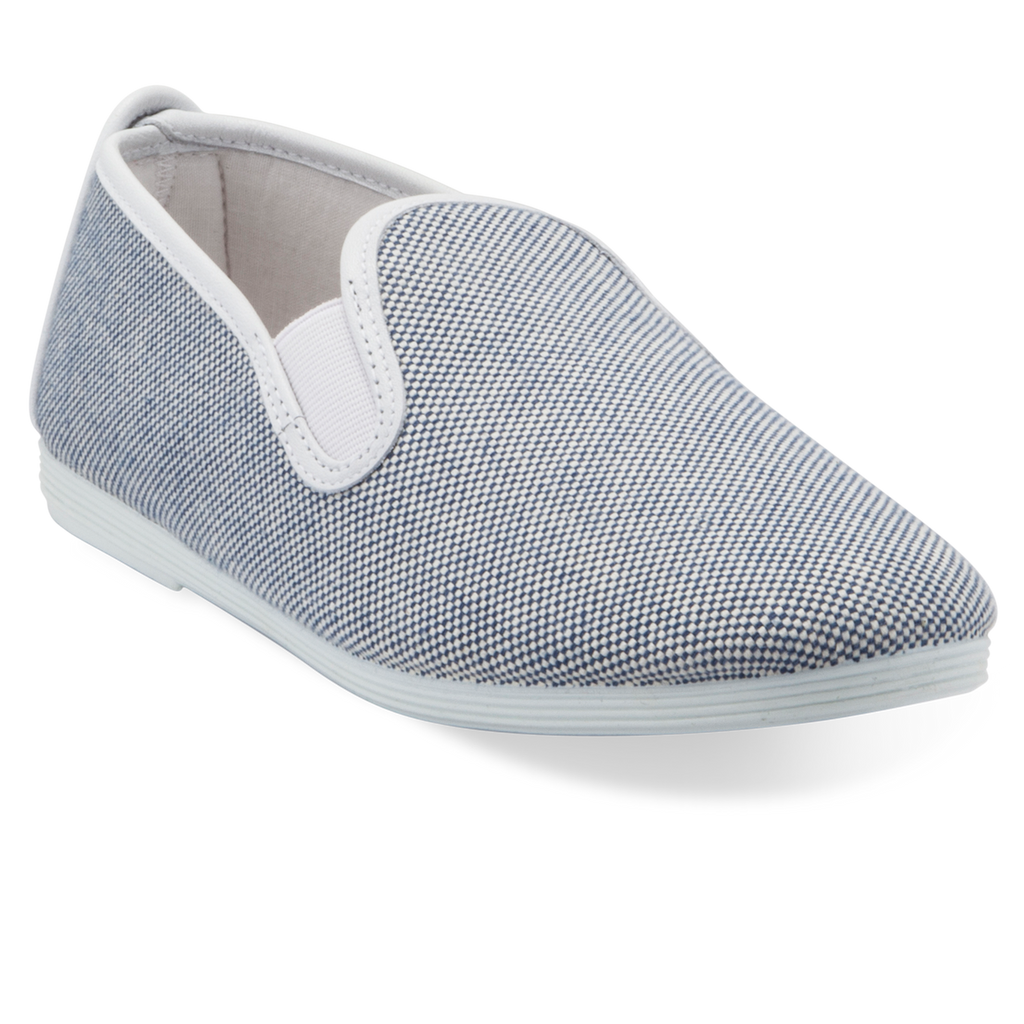 Womens Blue and White Marbella Slip On Plimsoll