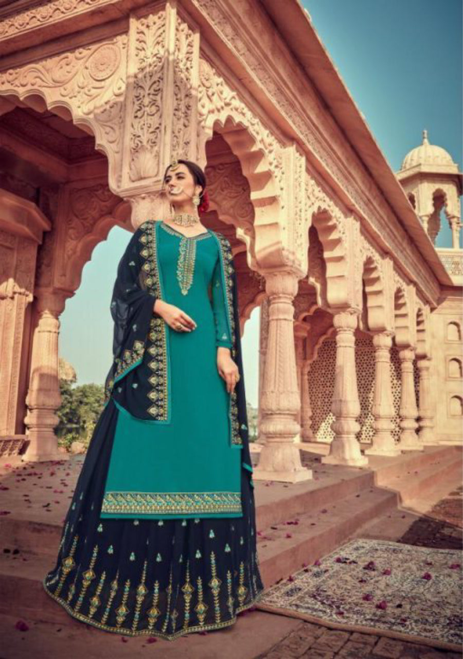 Satin Georgette With Handwork Dress Material
