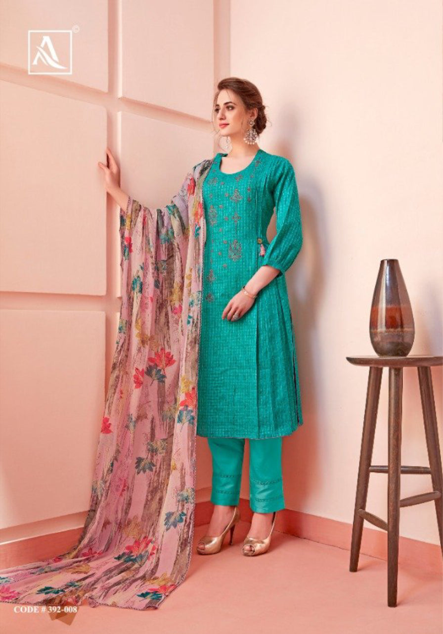 Pure Cotton Fancy Embroidery And Swarovski Diamond Work Dress Material