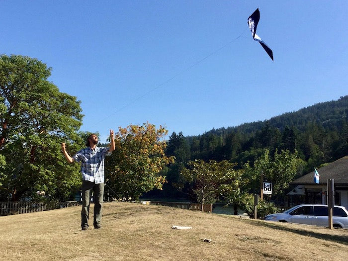 Leland flying a kite