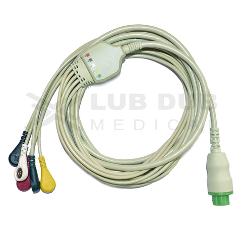 5 Lead ECG Cable Compatible with Datex S5 10 pin Snap type