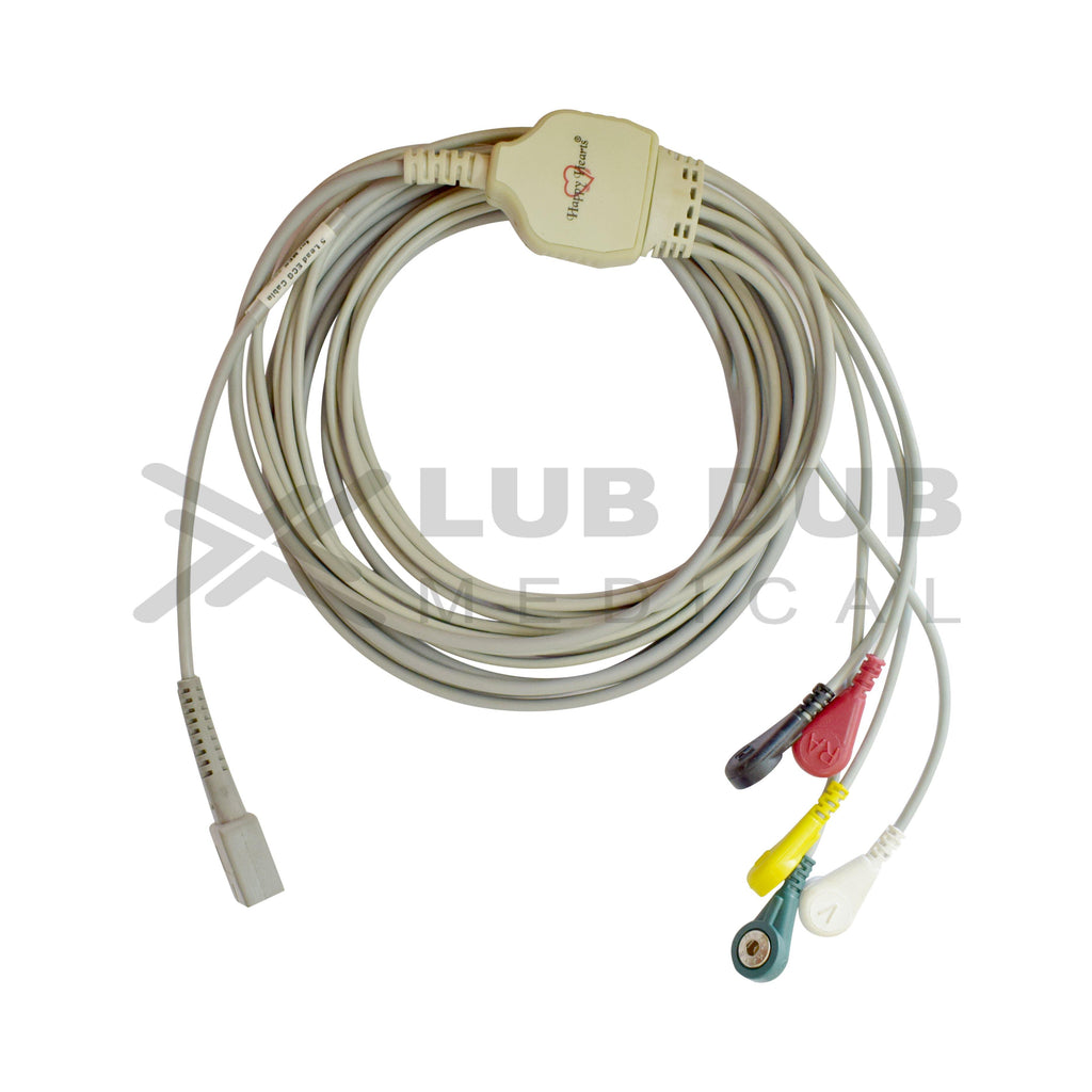 5 Lead ECG Cable Compatible with MEK  DB9 Snap type
