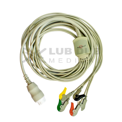 5 Lead ECG Cable Compatible with HP 12 pin Clip type