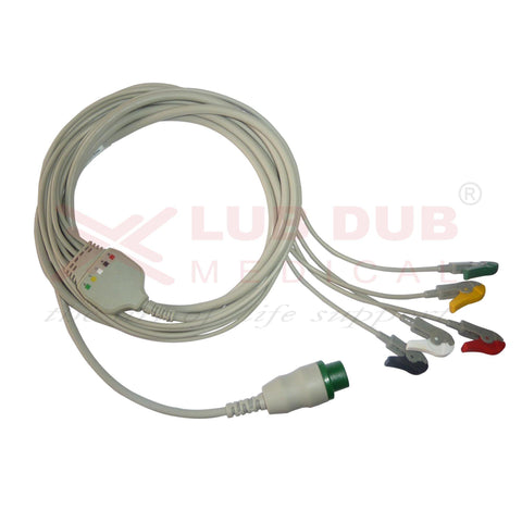 5 Lead ECG Cable Compatible with Schiller 12 Pin Clip type