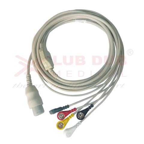 5 Lead ECG Cable Compatible with HP  8 Pin Snap type