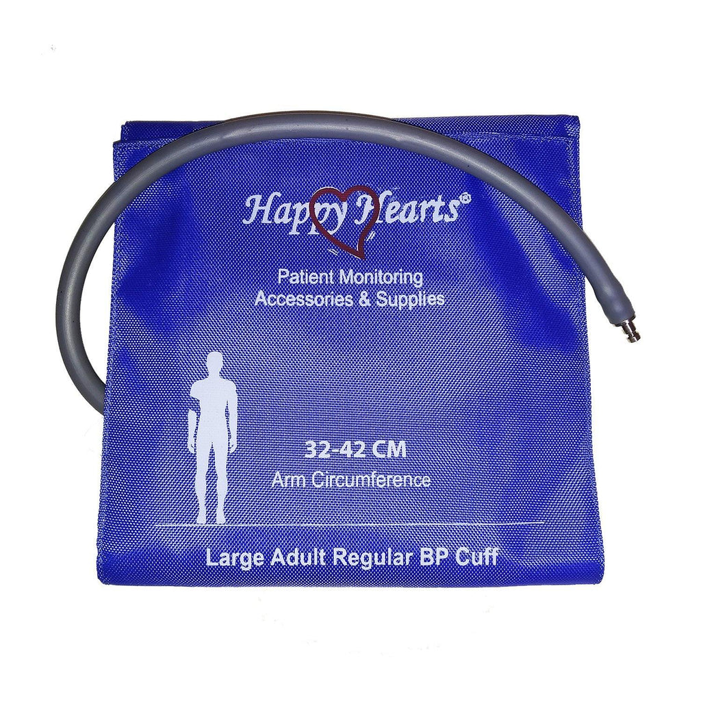 Reusable NIBP Cuff Happy Hearts Large Adult Single Tube Royal Blue 32-42 cm