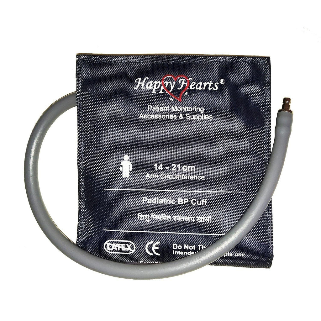 Reusable NIBP Cuff Happy Hearts Pediatric Single Tube Dark Blue 14-21 cm