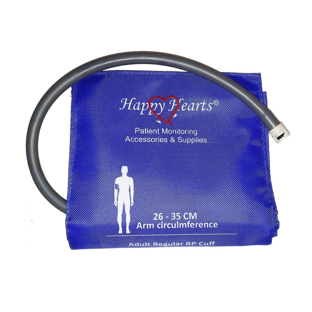 Reusable NIBP Cuff Happy Hearts Adult Single Tube Royal Blue 26-35cm