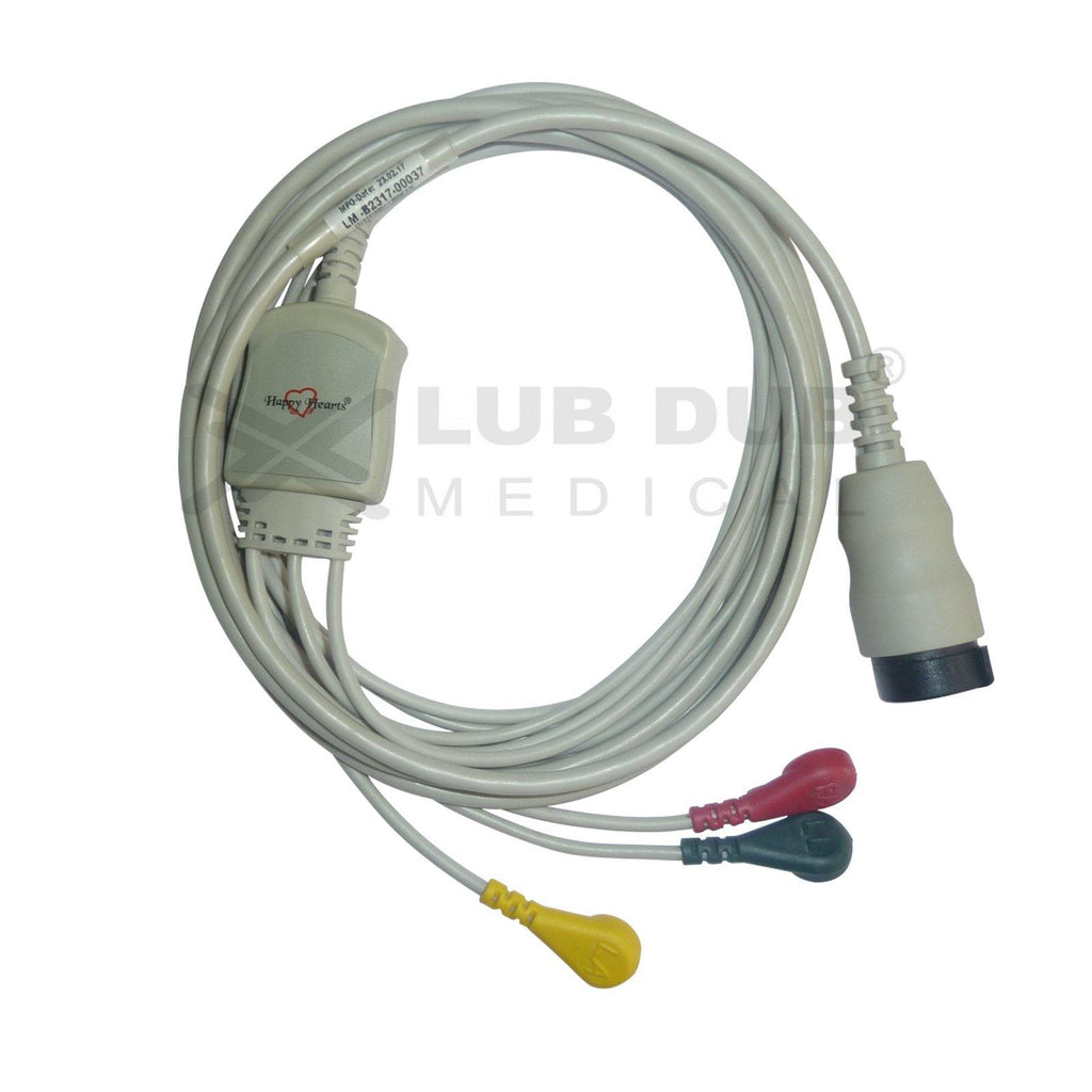 3 Lead ECG Cable Compatible with Physiocontrol LP20 12 Pin Snap type