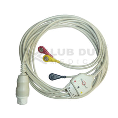 3 Lead ECG Cable Compatible with Siemens  10 Pin Snap type