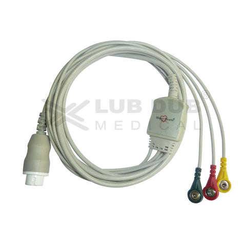 3 Lead ECG Cable Compatible with HP