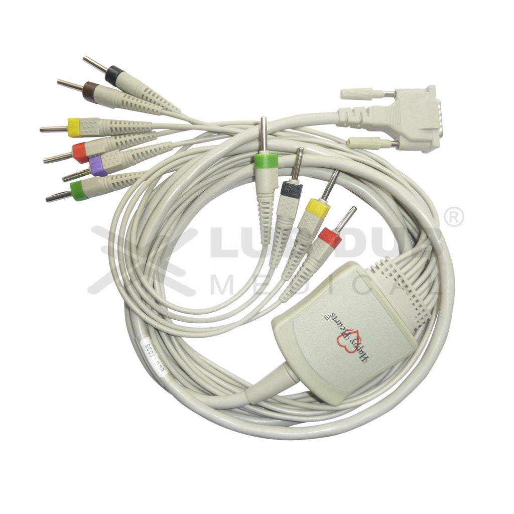 10 Lead ECG Cable Compatible with Edan 4mm 15 pin Banana type