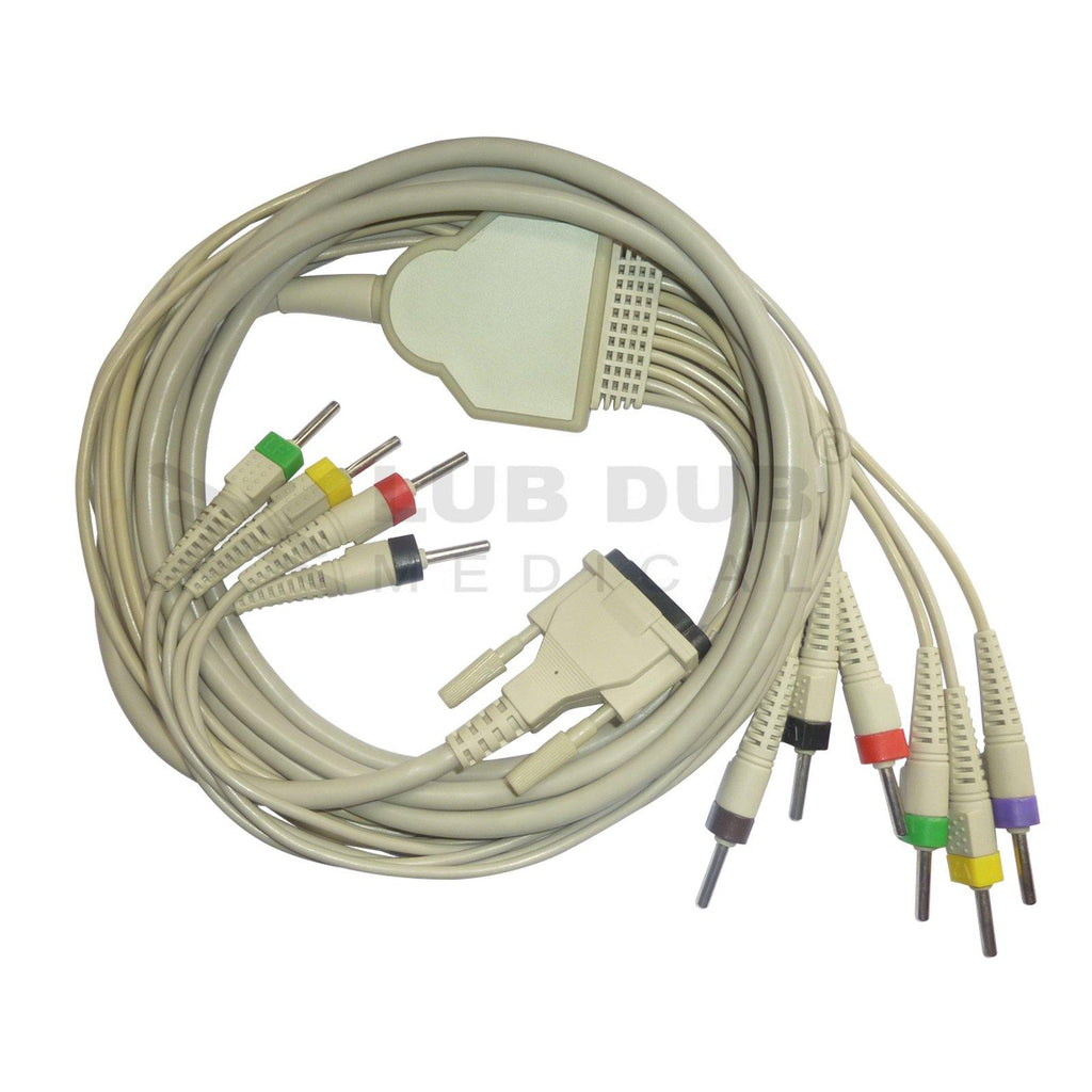 10 Lead ECG Cable Compatible with BPL 6108-T (MOULED) 4mm 15 pin  Banana type