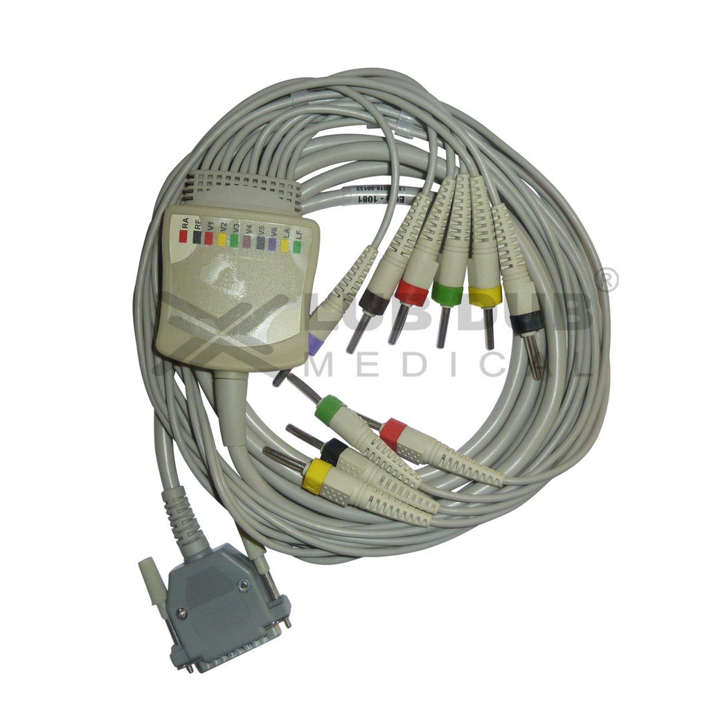 10 Lead ECG Cable  Compatible with RMS 4mm  25 pin Clip type