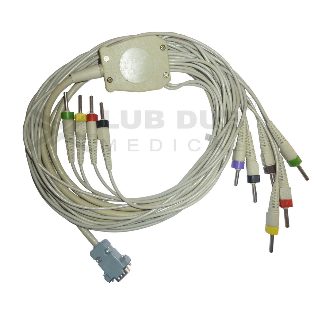10 Lead ECG Cable  Compatible with Medicaid 4mm 15 pin  Banana type