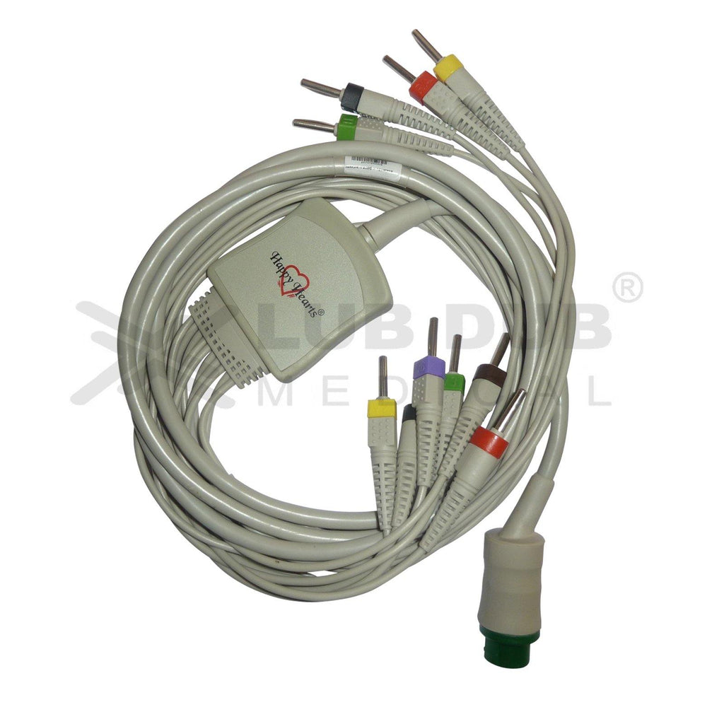 10 Lead ECG Cable Compatible with L&T 4mm 12 Pin  Banana type