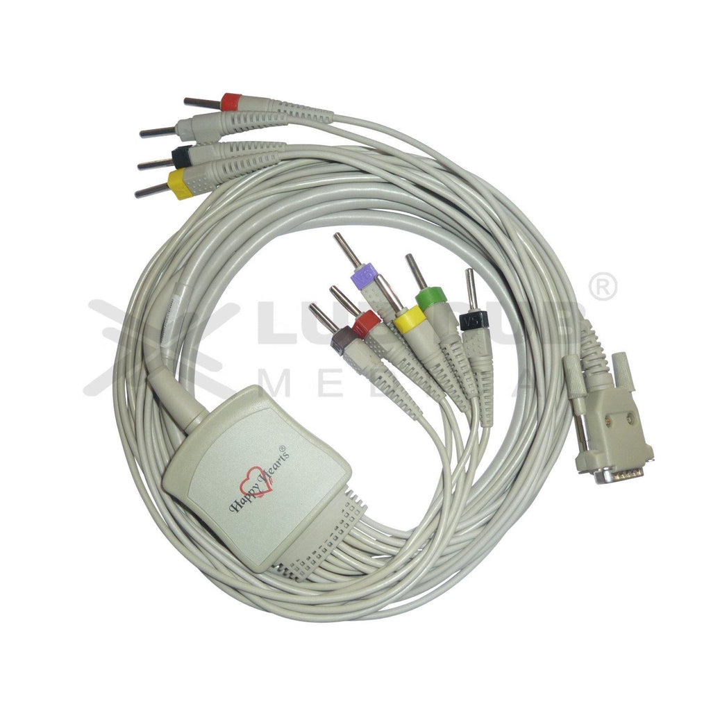 10 Lead ECG Cable  Compatible with schiller 4mm 15 pin open type (dust cover)