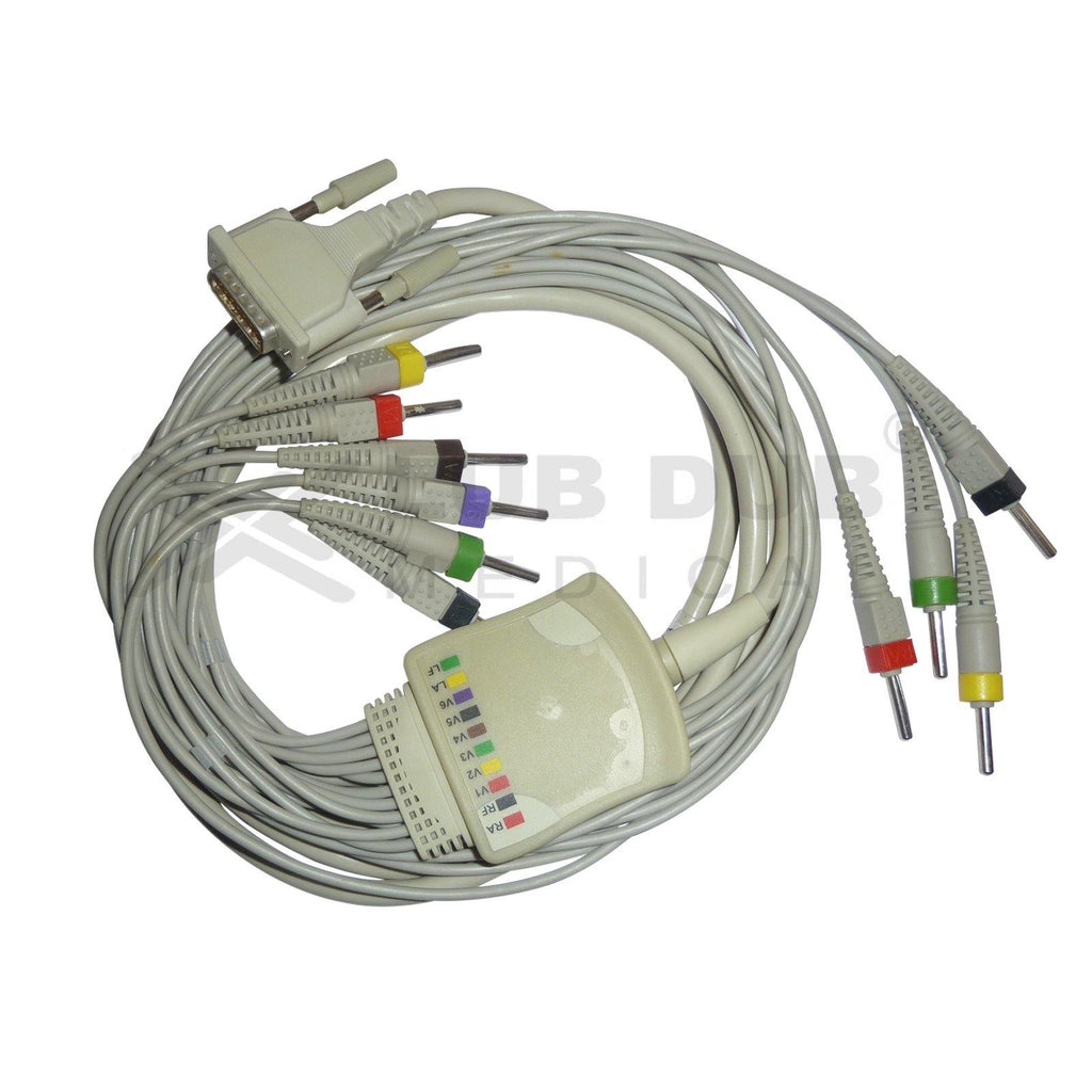 10 Lead ECG Cable Compatible with Aspen 4mm 15 pin Banana type