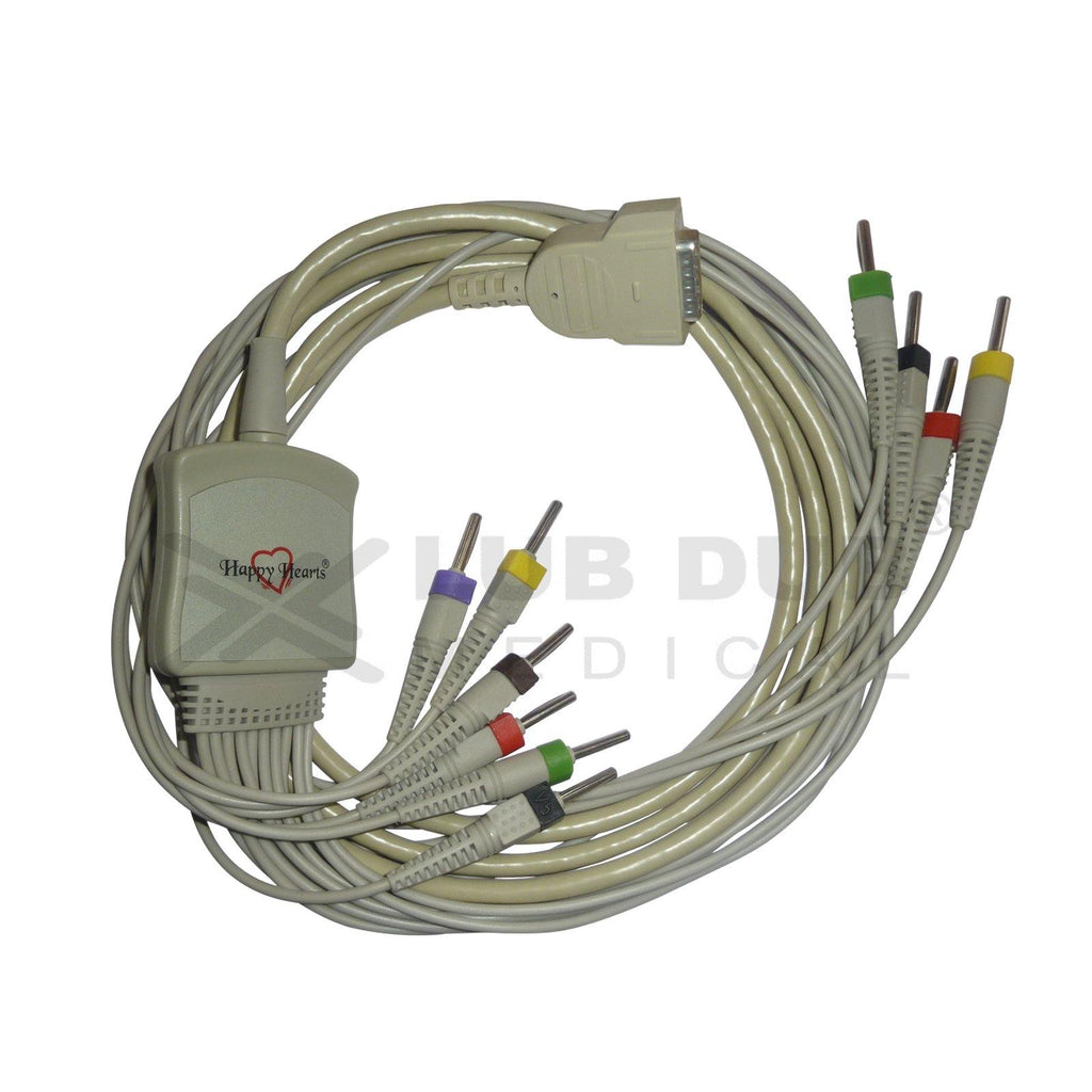 10 Lead ECG Cable  Compatible with philips 4 mm 15 pin banana type