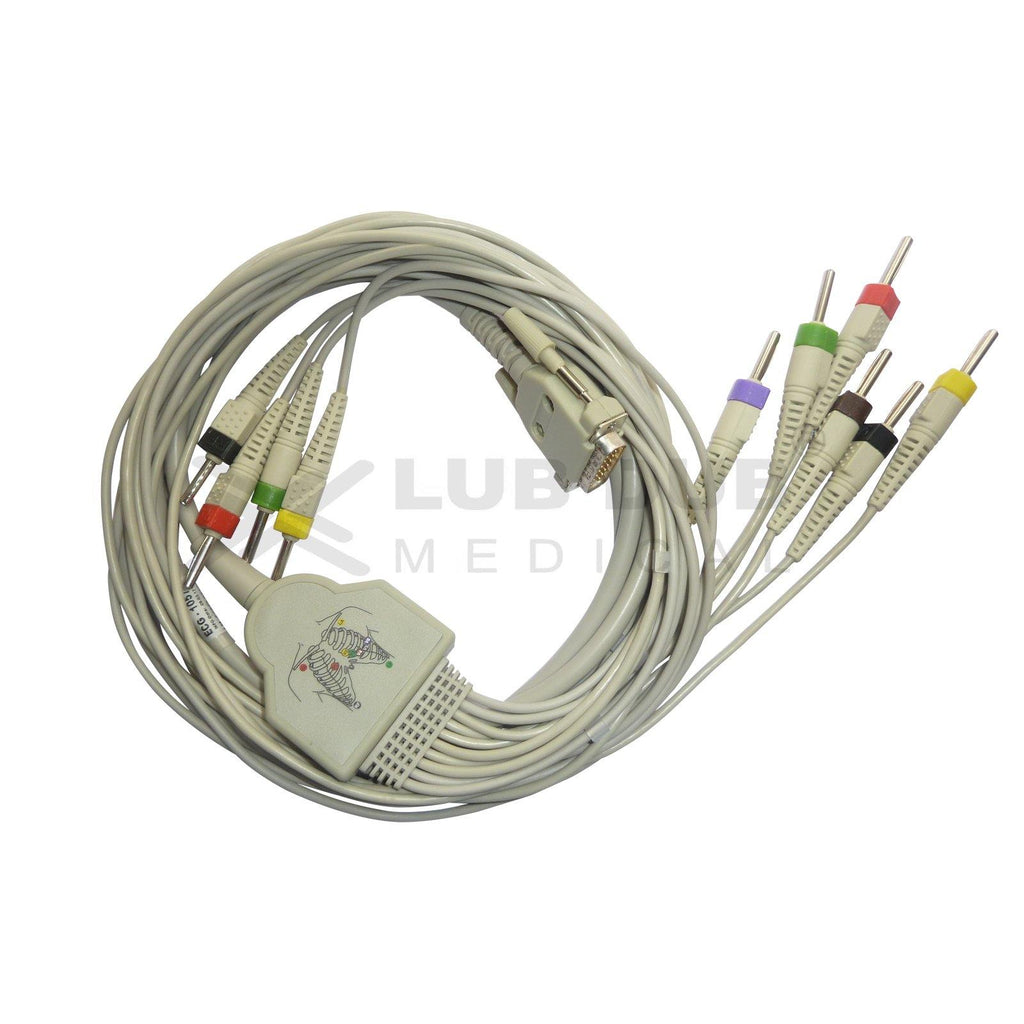 10 Lead ECG Cable  Compatible with Lifeplus 4mm 15 pin Banana type