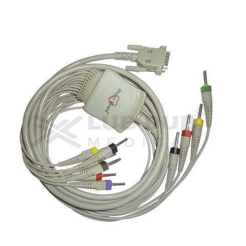 10 Lead ECG Cable Compatible with RMS 4mm 15 pin banana type