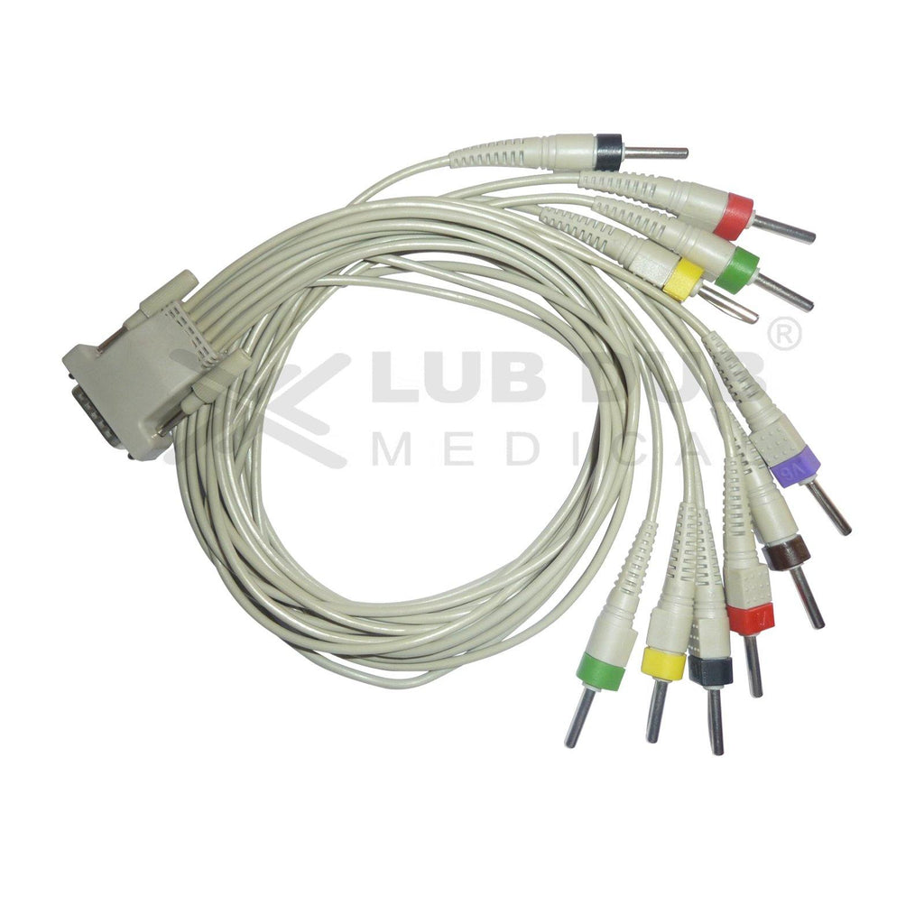10 Lead ECG Cable  Compatible with lifescience 4mm 15 pin type