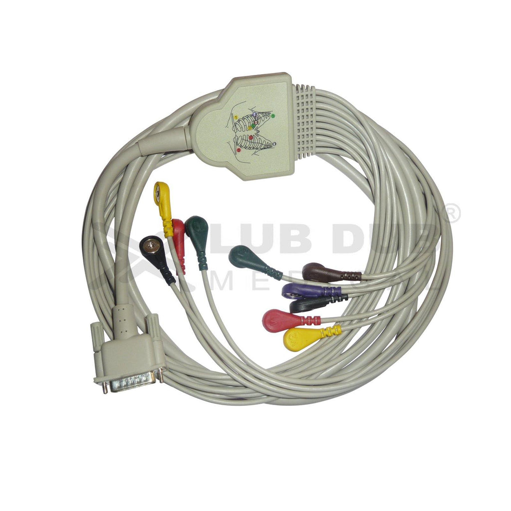 10 Lead ECG Cable Compatible with GE 15 pin Snap type
