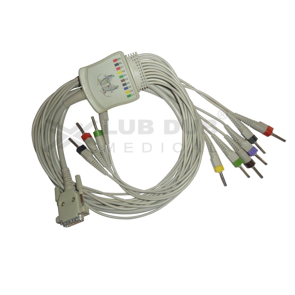 10 Lead ECG Cable  Compatible with BPL 8108R/8208/8408/9108/6108-T 4mm 15 pin Banana type