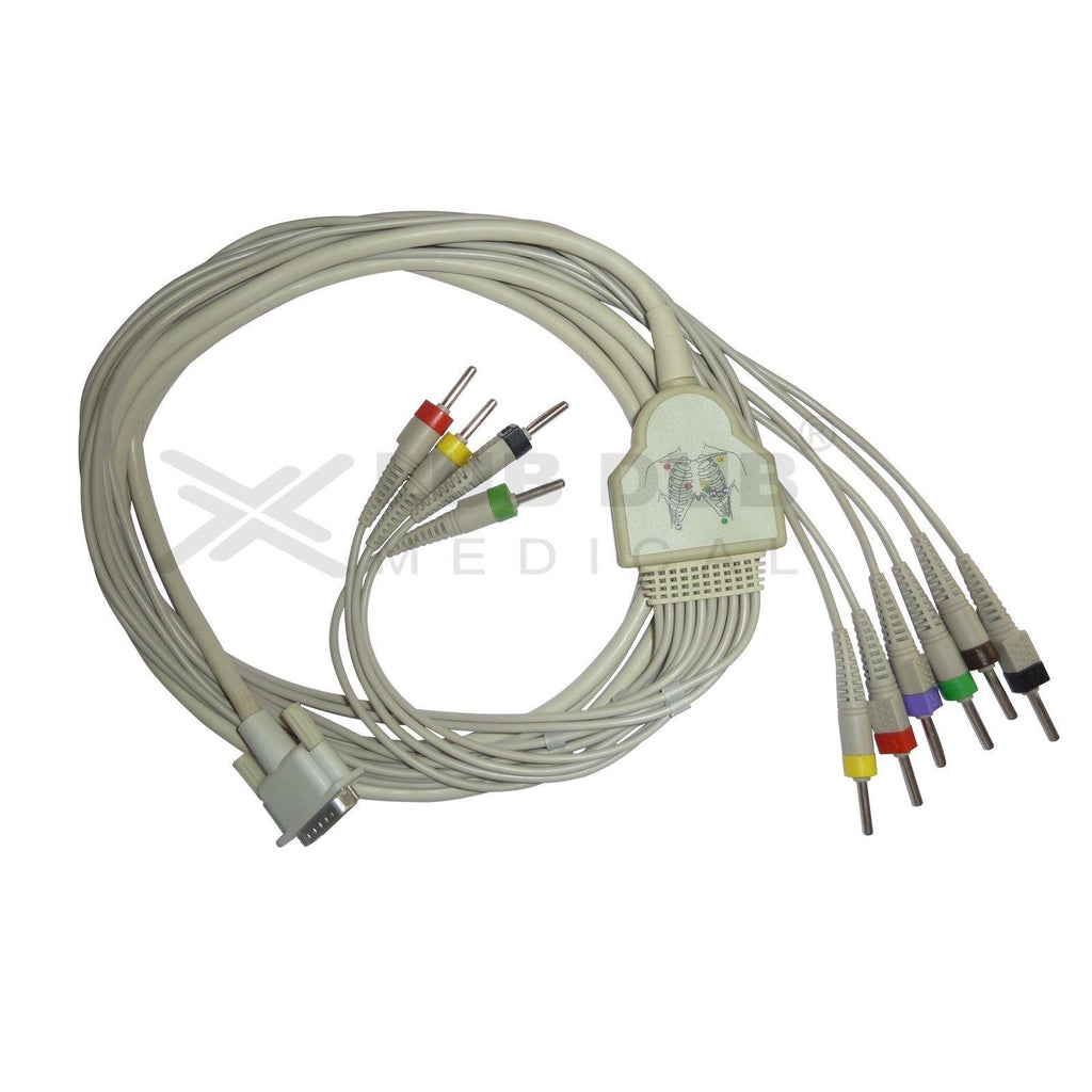 10 Lead ECG Cable  Compatible with Contec 15 pin Snap type