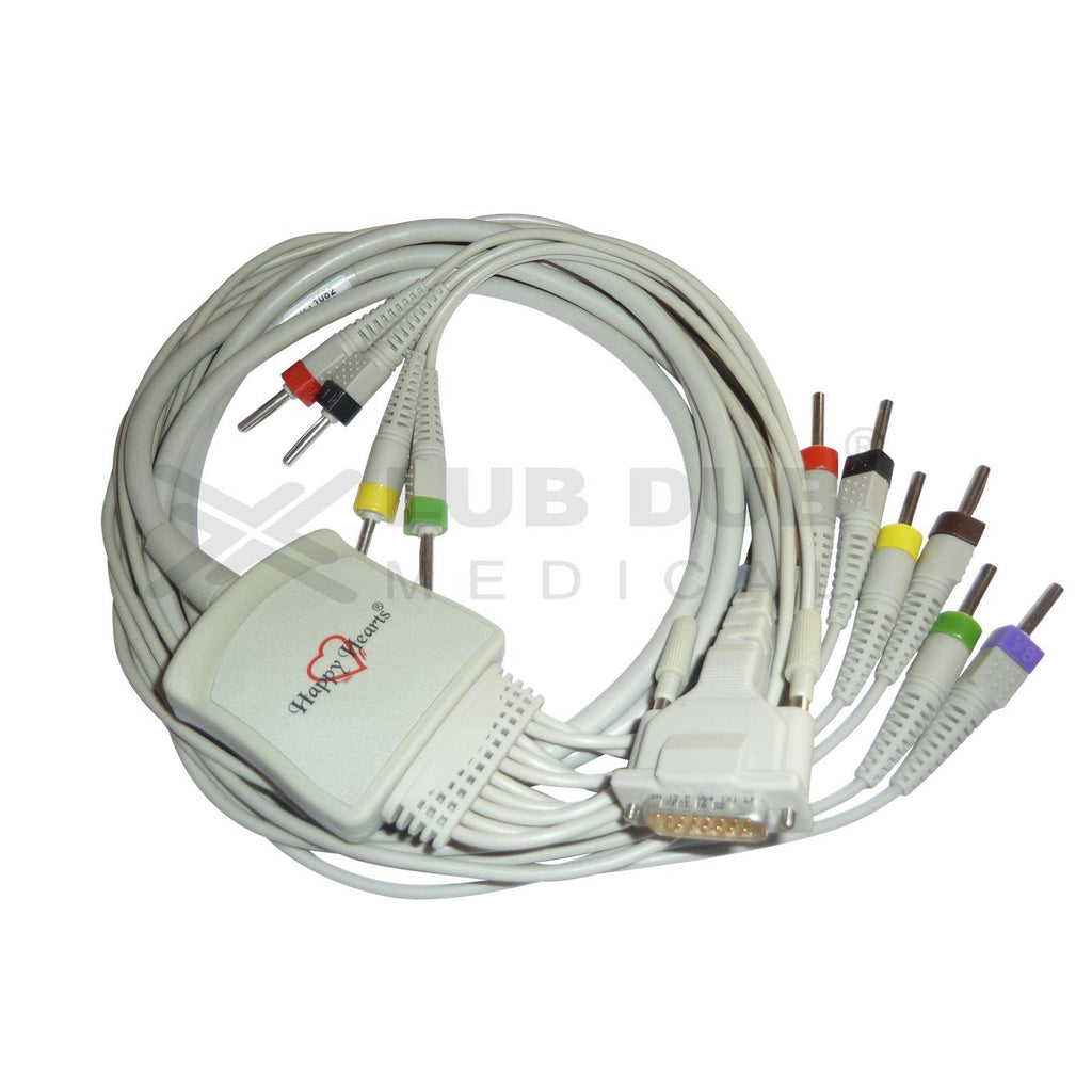 10 Lead ECG Cable  Compatible with schiller 4 mm 15 pin banana type