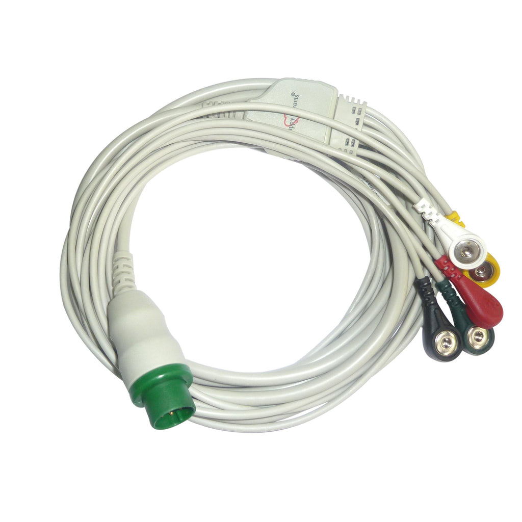 5 Lead ECG Cable Compatible with Schiller Argus 12 pin Clip type