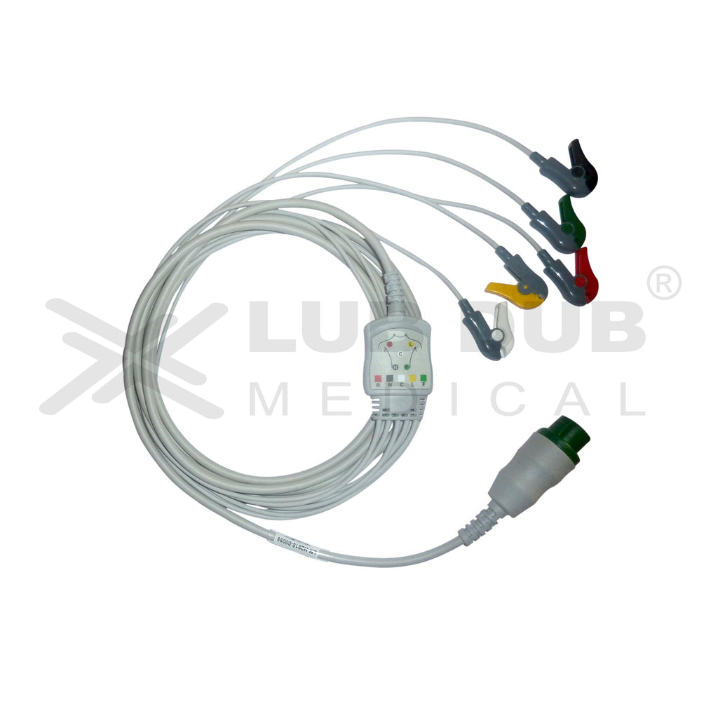 5 Lead ECG Cable Compatible with Cura Medical 12 pin Clip type