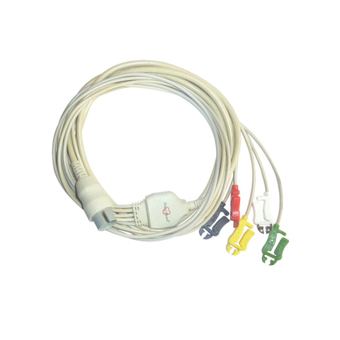 5 Lead ECG Cable Compatible with Spacelab  17 Pin Clip type