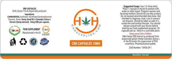Label of CBD Capsules by H&H Hemp