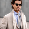 Pini Parma beige coat in wool made in italy with beige jacket, light blue shirt and grey tie