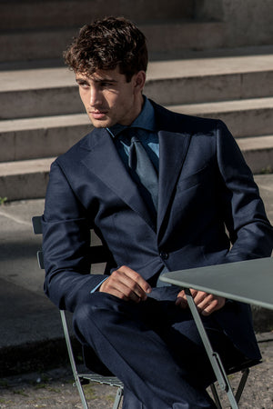 blue flannel suit with denim shirt made in italy style