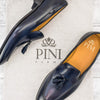 blue tassel loafer leather made in italy