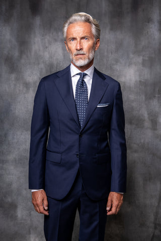 blue full canvas suit in loro piana wool costume entoilé