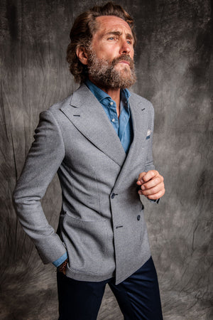 blue double breasted suit made in italy denim shirt and blue trousers half canvas and neapolitan shoulder